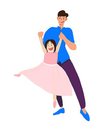 父女跳芭蕾舞