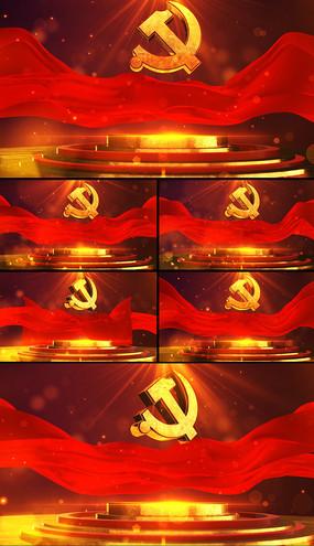 红色党徽展示LED视频素材 mp4