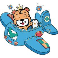手绘卡通开飞机的老虎PNG元素