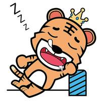 睡觉的老虎卡通元素