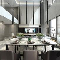 现代风格 别墅客餐厅