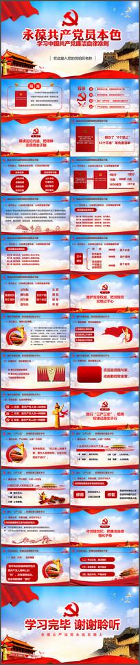 中国共产党廉洁自律准则PPT模版