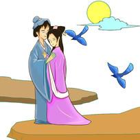 手绘浪漫七夕牛郎织女情人节元素