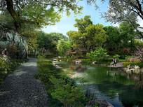 公园湿地景观效果图 PSD