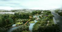 河道景观效果图 PSD