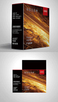 金色宇宙风电子包装彩盒设计 PSD
