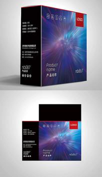 蓝色网络设备电子包装彩盒设计 PSD