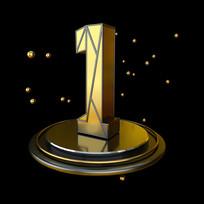 黑金立体几何周年庆倒计时1数字