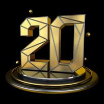 黑金立体几何周年庆倒计时20数字