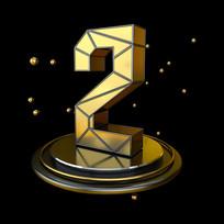 黑金立体几何周年庆倒计时2数字