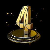 黑金立体几何周年庆倒计时4数字