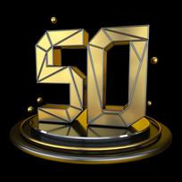 黑金立体几何周年庆倒计时50数字