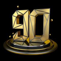 黑金立体几何周年庆倒计时90数字
