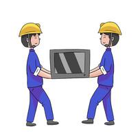 手绘搬东西人物搬家装修公司安全生产元素