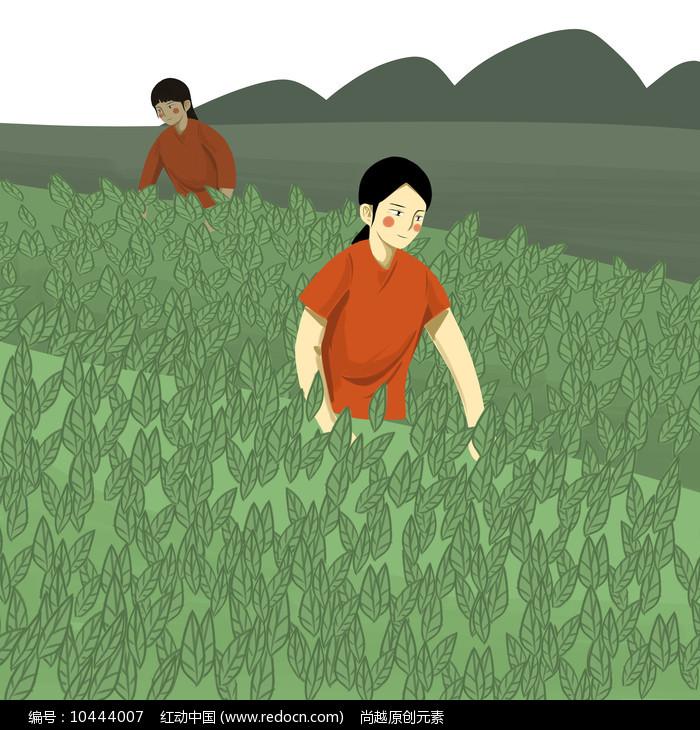 手绘创意采茶的小姑娘茶文化插画元素图片