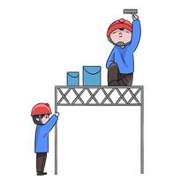 手绘卡通工人粉刷装修公司安全生产元素
