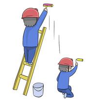 手绘卡通工人刷墙装修公司安全生产元素