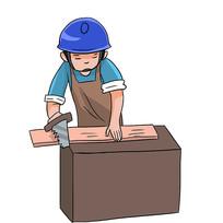 手绘卡通木匠人物装修公司安全生产元素