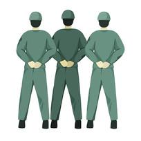 手绘三个军人背影部队建军节元素