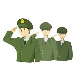 手绘三个军人敬礼姿势部队建军节元素