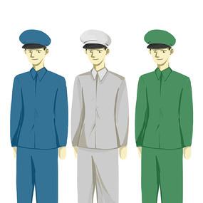 手绘三个军人立正姿势部队建军节元素