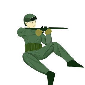 手绘手拿冲锋枪的军人部队建军节元素