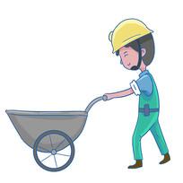 手绘推水泥车的人物装修公司安全生产元素