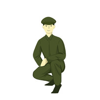 手绘一个军蹲着部队建军节元素
