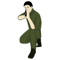 手绘一个军蹲着手拿冲锋枪部队建军节元素