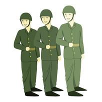 手绘阅兵中的军人部队建军节元素