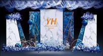 蓝色大理石婚礼主题背景板