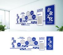 蓝色大气简约企业文化墙