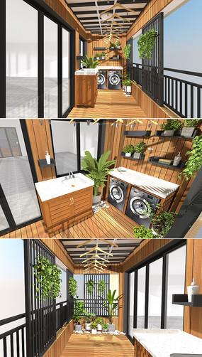 生活花园木阳台