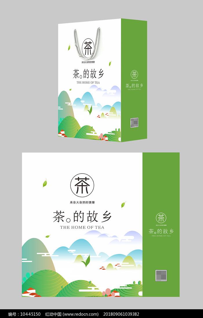 小清新茶叶礼盒手提袋包装设计