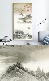 新中式玄关水墨花鸟山水装饰画