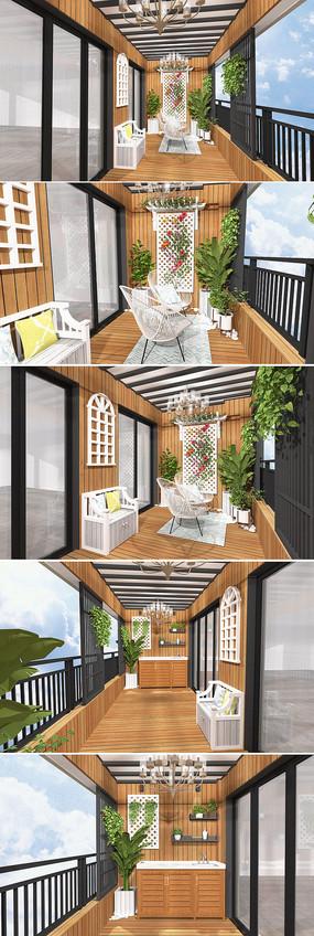 休闲花园木阳台