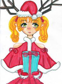 原创动漫手捧圣诞礼物的呆萌女孩元素
