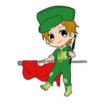 原创手绘手拿旗子的军人