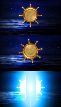船舵旋转会议开场转场动画视频模板