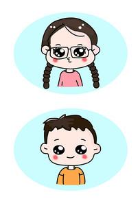 男孩女孩卡通插画设计