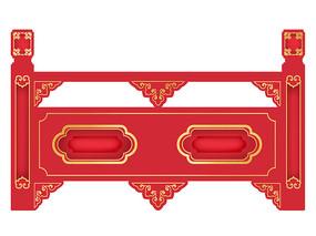 原创元素手绘中国风栏杆