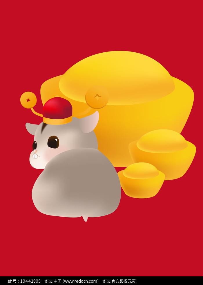 原创元素鼠年回头的福鼠图片
