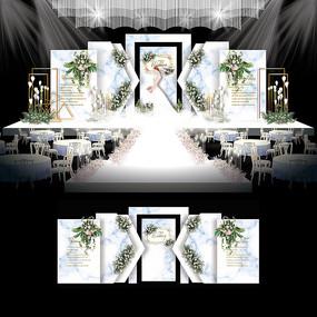白蓝色大理石纹婚礼欧式婚庆背景板