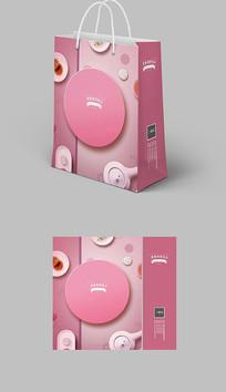 粉色淡雅清新手提袋纸袋包装