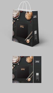 古典中国风深色美食餐饮手提袋纸袋
