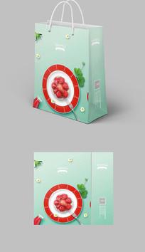 绿色清新草莓手提袋纸袋包装