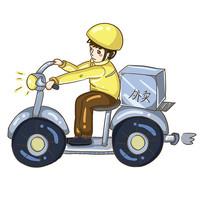 原创手绘骑车外卖小哥送外卖元素