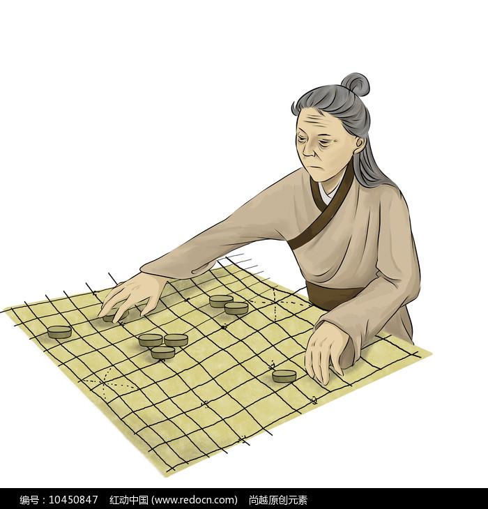 原创手绘下棋的老人中国象棋插画元素图片