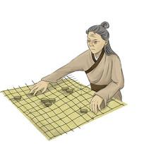原创手绘下棋的老人中国象棋插画元素
