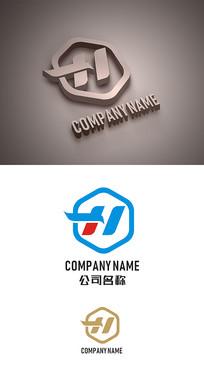 H字母标志LOGO设计